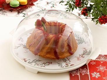 Kokina Melamin Kapaklı Kek Fanus 31 Cm Kırmızı