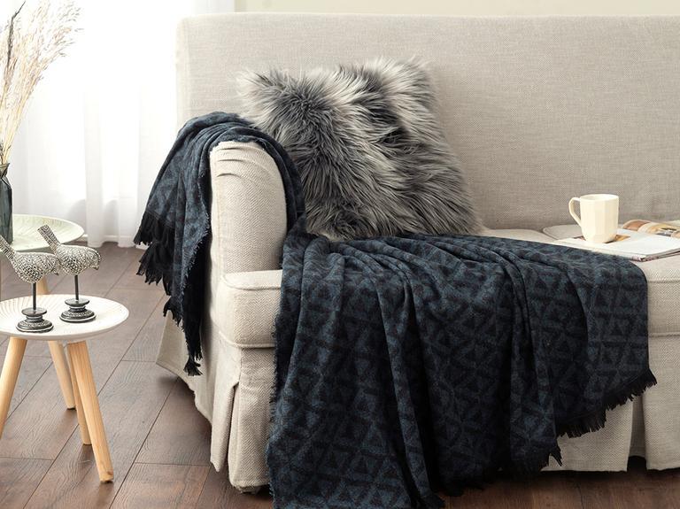 Dark Mono Akrilik Koltuk Şalı 130x170 Cm Siyah – Lacivert