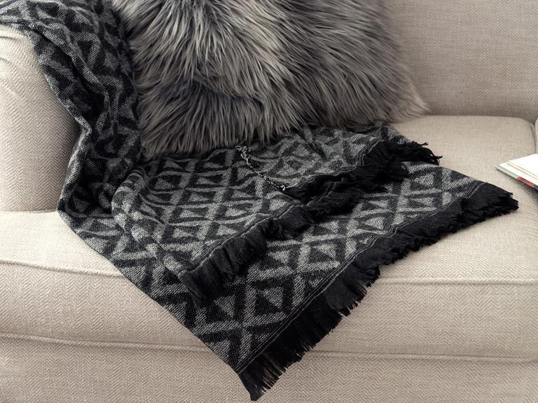 Dark Mono Akrilik Koltuk Şalı 130x170 Cm Siyah - Gri