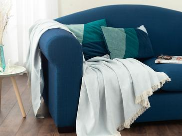 Linear Pamuk Polyester Koltuk Şalı 140x200 Cm Açık Mavi