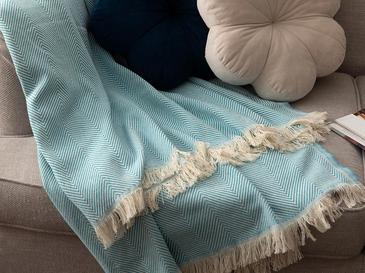 Linear Pamuk Polyester Koltuk Şalı 140x200 Cm Turkuaz