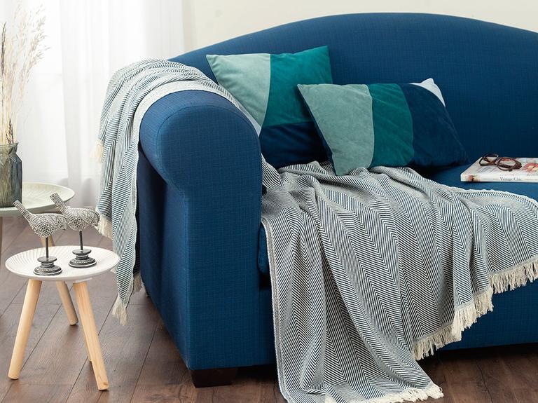 Linear Pamuk Polyester Koltuk Şalı 140x200 Cm İndigo