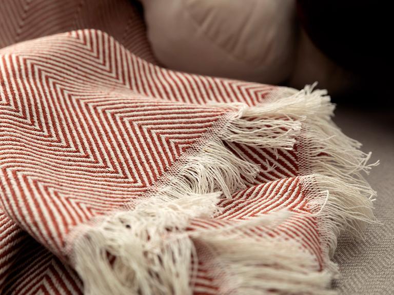 Linear Pamuk Polyester Koltuk Şalı 140x200 Cm Kiremit