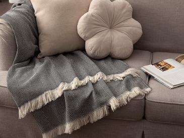 Linear Pamuk Polyester Koltuk Şalı 140x200 Cm Siyah