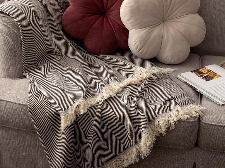 Linear Pamuk Polyester Koltuk Şalı 140x200 Cm Kahverengi