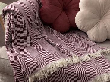 Linear Pamuk Polyester Koltuk Şalı 140x200 Cm Mürdüm