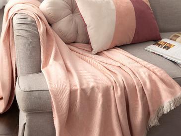 Linear Pamuk Polyester Koltuk Şalı 140x200 Cm Somon