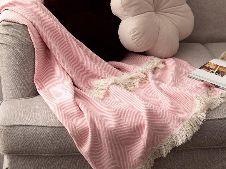Linear Pamuk Polyester Koltuk Şalı 140x200 Cm Pembe