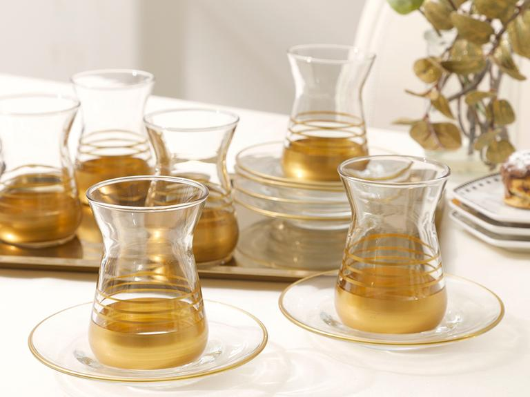 Golden Cam 6'lı Çay Seti 130 Ml Gold