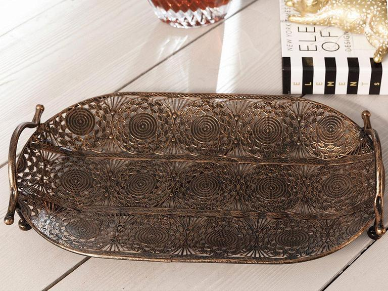 Rhonda Metal Tepsi 39x22 Cm Bronz