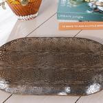 Rhonda Metal Tepsi 47x28 Cm Bronz