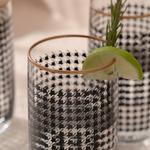 Denby Pied De Poule Cam 3'lü Meşrubat Bardağı 365 Ml Siyah-gold