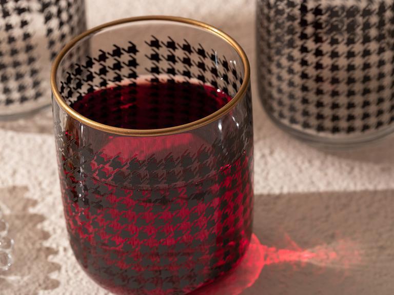 Denby Pied De Poule Cam 3'lü Meşrubat Bardağı 270 Ml Siyah-gold