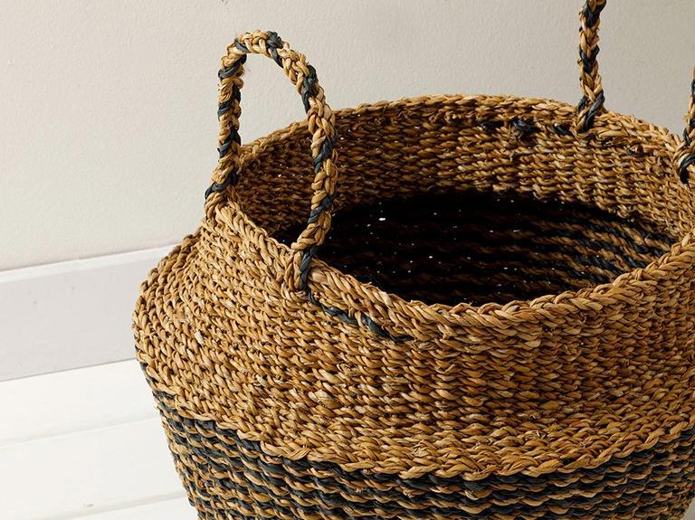 Natural Hasır Sepet 34x45x34cm Kahve – Siyah