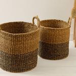 Natural Shape Hasır Sepet 40x40 Cm Kahve – Siyah