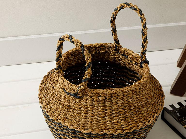 Natural Hasır Sepet 23x33x25cm Kahve – Siyah