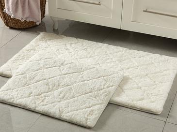 Rabbit Polyester Banyo Paspası Seti 60x100 - 50x60 Cm Beyaz
