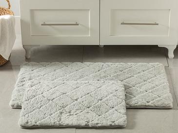 Rabbit Polyester Banyo Paspası Seti 60x100 - 50x60 Cm Açık Gri