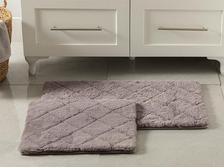 Rabbit Polyester Banyo Paspası Seti 50x80 - 45x50 Cm Koyu Mürdüm