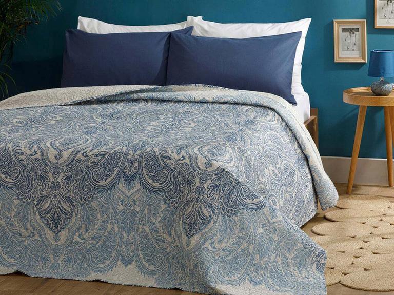 Urban Damask Polyester King Size Çok Amaçlı Örtü 240x220 Cm Mavi