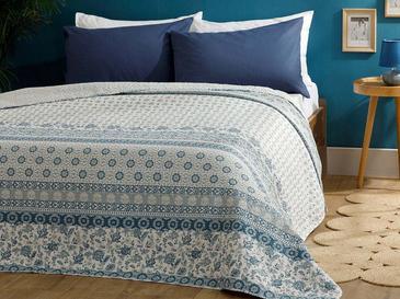 Urban Floral Polyester King Size Çok Amaçlı Örtü 240x220 Cm Mavi
