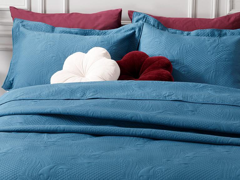 Alden Jakarlı Çift Kişilik Yatak Örtüsü Takımı 250x260 Cm İndigo