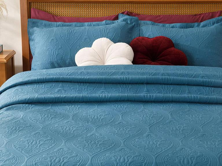 Grace Jakarlı Çift Kişilik Yatak Örtüsü Takımı 250x260 Cm İndigo