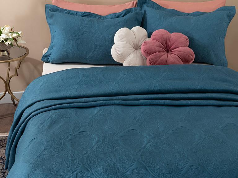 Peggy Jakarlı Çift Kişilik Yatak Örtüsü Takımı 250x260 Cm İndigo