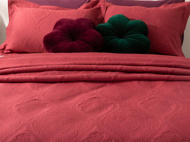 Peggy Jakarlı Çift Kişilik Yatak Örtüsü Takımı 250x260 Cm Bordo