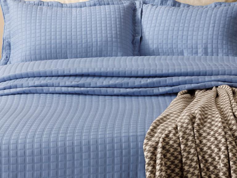 Merlin Jakarlı Çift Kişilik Yatak Örtüsü Takımı 250x260 Cm Parlament Mavisi