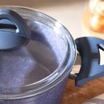 Pure Granit Cam Kapaklı Derin Tencere 24 Cm Lacivert