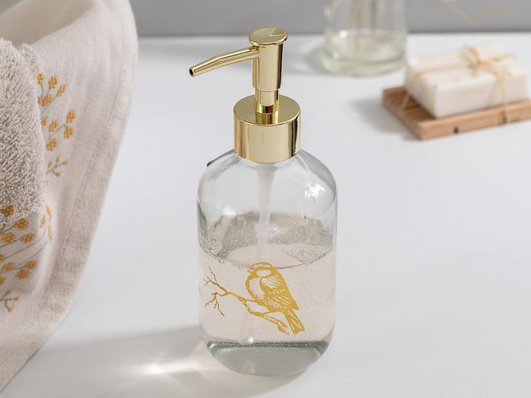 Birdy Cam Banyo Sıvı Sabunluk 7,2x18,5 Cm Gold