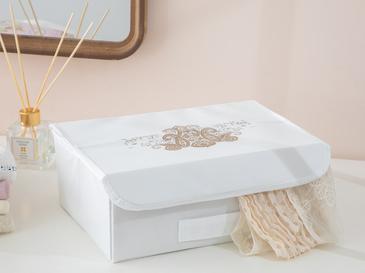 Lace Damask Polipropilen Saklama Kutusu 30x23x11 Cm Beyaz