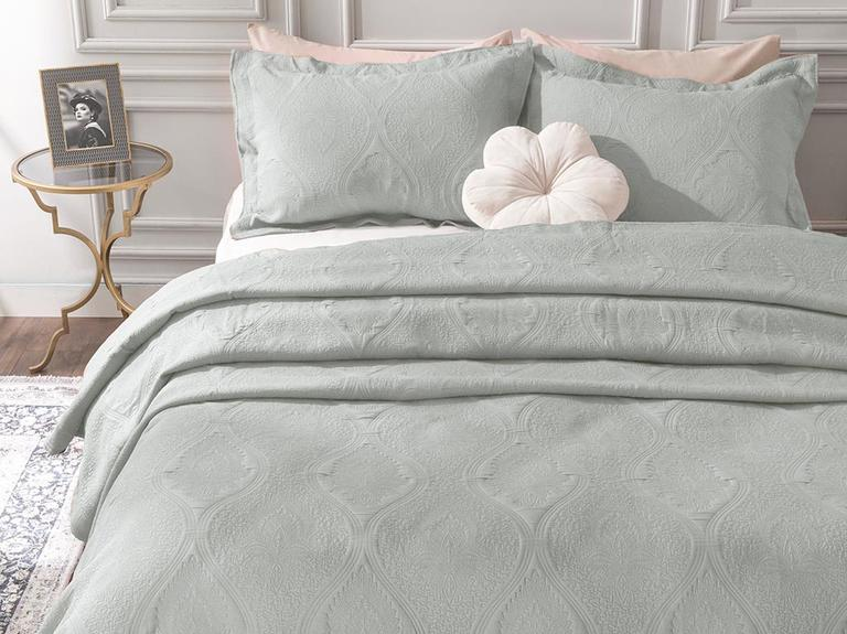 Peggy Jakarlı Çift Kişilik Yatak Örtüsü Takımı 250x260 Cm Mavi