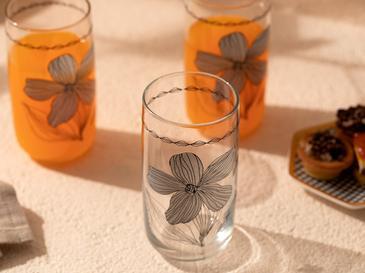 Denby Bright Cam 3'lü Meşrubat Bardağı 365 Ml Bej - Siyah