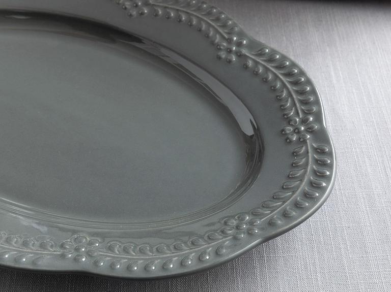 Viyana Porselen Kayık Tabak 25 Cm Antrasit
