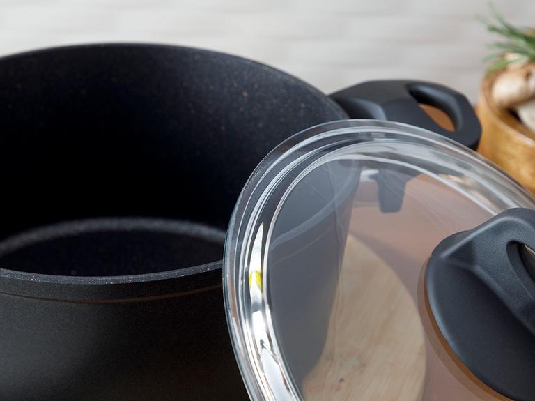 Emma Granit Cam Kapaklı Derin Tencere 20 Cm Siyah