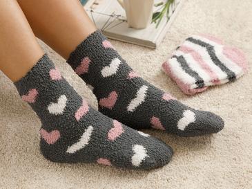 Lovely Home Peluş Çorap Gri - Pembe