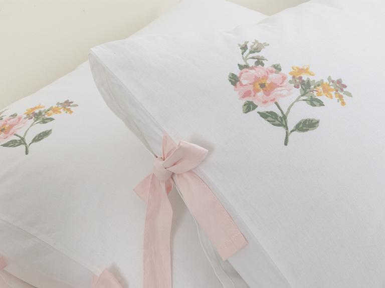 Pretty Flowers Kombin Pamuklu 2'li Yastık Kılıfı 50x70 Cm Açık Seledon