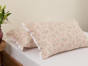 Sweet Rose Kombin Pamuklu 2'li Yastık Kılıfı 50x70 Cm Pudra