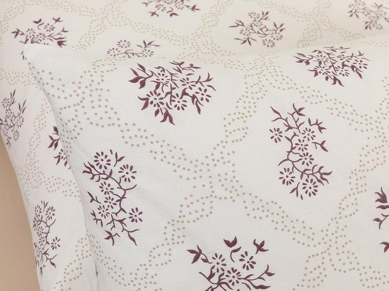 Vintage Floral Pamuklu 2'li Yastık Kılıfı 50x70 Cm Mürdüm