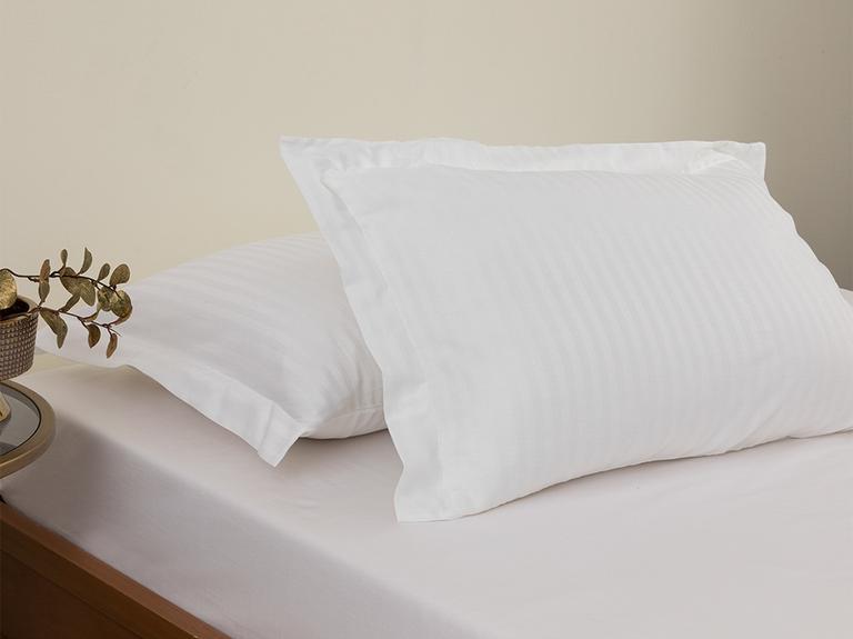 Crystal İpeksi Twill 2'li Kulaklı Yastık Kılıfı 50x70 Cm Beyaz