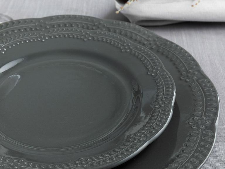 Viyana Porselen Pasta Tabağı 20 Cm Antrasit