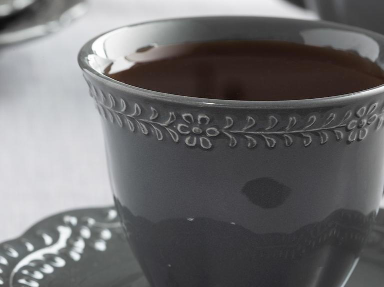 Viyana Porselen 4 Parça Çay Fincanı Takımı 180 Ml Antrasit