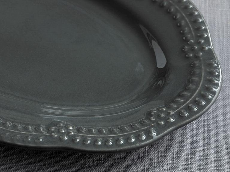 Viyana Porselen Kayık Tabak 20 Cm Antrasit