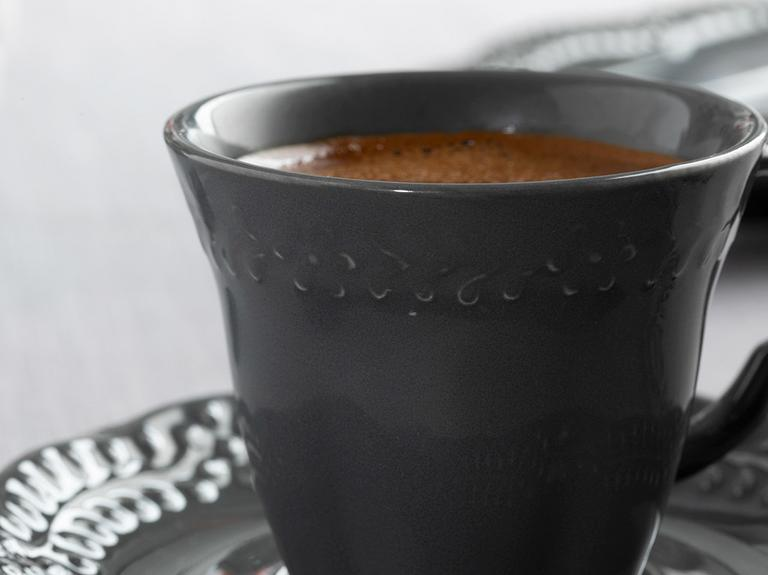 Viyana Porselen 4 Parça Kahve Fincan Takımı 80 Ml Antrasit