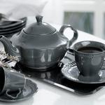 Viyana Porselen Çay Tabağı 12 Cm Antrasit