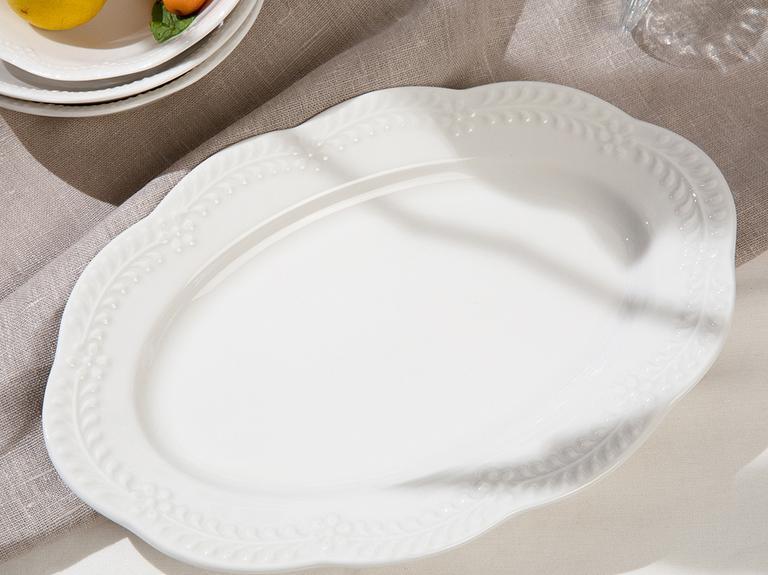 Viyana Porselen Kayık Tabak 25 Cm Açık Krem