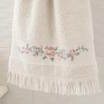 Floral Stripe Nakışlı Yüz Havlusu 50x80 Cm Açık Bej