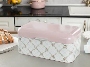 Rosalinda Metal Dikdörtgen Ekmek Kutusu 20,9x36,5x16,3 Cm Pembe - Beyaz
